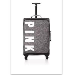 🆕PINK Victoria's Secret Logo Wheelie Suitcase•NWT